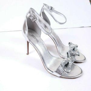 NWOB Michael Kors 8.5 Silver Strappy Heels Sandals